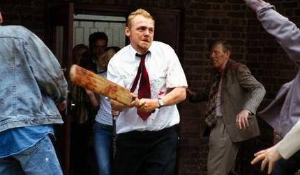 Simon Pegg makes effective use of a cricket bat